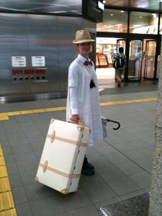 Nana Aganovich with her Globe-Trotter Safari Ivory Suitcase