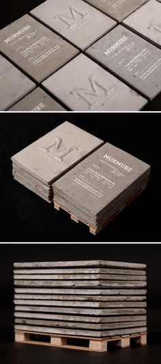 """.:* L - concrete business cards! [from designvagabond: """"Concrete business cards, designed by and for Murmure. Playing with the notion of scales, Murmure created a set of business cards made of concrete. This material, typically used for structure on a grand scale, was used instead for a small, refined and intimate tool of communication. The typography highlights the roughness of the material.""""]"""