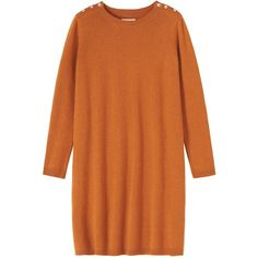 Toast Albine Dress ($86) ❤ liked on Polyvore featuring dresses, vestidos, pumpkin, holiday dresses, orange sweater dress, special occasion dresses, cocktail dresses and button dress