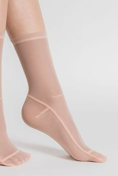 Darner Nylon Sheer Socks - Nude -80% Nylon, 20% Spandex -Hand wash in Cold, Lay…