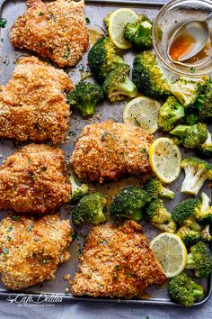Oven Fried Chicken + Broccoli with Honey Garlic Sauce - BigOven