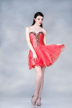 Coral Short Corset Back Prom Formal Dress Homecoming Dance Adjustable Sale New - The Dress Outlet - 1