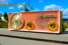 PINK VELVET Mid Century Retro Jetsons 1957 Motorola 57CS Port Hole Tube AM Clock Radio Totally Restored! Quiet Clock!