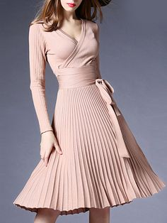 Buy Sexy V-Neck Solid Pleated Knitted Skater Dress online with cheap prices and discover fashion Skater Dresses at Fashionmia.com.