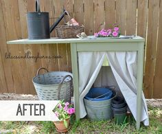 re purposed sewing table turned potting table, chalk paint, flowers, gardening, painted furniture