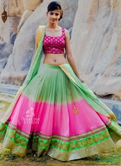 Ombre greean and pink lehenga Mehendi Outfits, Pakistani Outfits, Indian Outfits, Bridal Sari, Lehenga Wedding, Indian Attire, Indian Wear, Indian Style, Hindu Girl