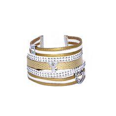 Bracelet Manchette multi liens blanc doré en suédine daim et simili cuir : Bracelet par les-bijoux-de-petiteauguai