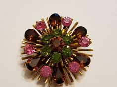 Vintage green amber pink rhinestone Brooch