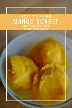 The summer is in full force and the heat is getting to me. This recipe for Mango Sorbet is sure to cool you off. It only requires 2 natural ingredients. New Recipes, Vegan Recipes, Cooking Recipes, Vegan Foods, Vegan Vegetarian, Mango Sorbet, Summer Treats, Frozen Banana, 2 Ingredients
