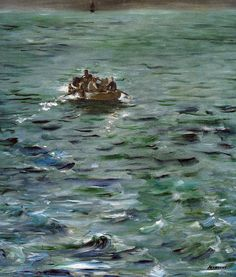 """Édouard Manet: Henri Rochefort's Escape (L'Evasion de Rochefort), d'Orsay, Paris, France. """"This painting is the smaller of the two versions of Rochefort's Escape painted by Manet after December The other version is in the Kunsthaus, Zurich. Renoir, Claude Monet, Edouard Manet, Oil Canvas, Canvas Art, Peter Paul Rubens, Antibes, Michelangelo, Art Google"""