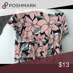 Cropped Flower shirt It's pink, little bit of black and green it has flowers Tops Crop Tops