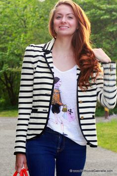 Marta Tryshak wearing Zara Printed Linen T-Shirt, Juicy Couture Stripe Blazer, Marc by Marc Jacobs Rings, Michael Kors Watch, 7 For All Mankind  The Skinny Jeans, Kate Spade Little Blaine Satchel