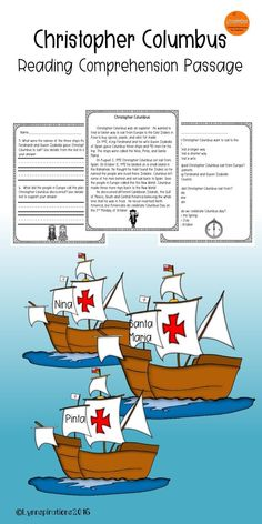 This engaging Christopher Columbus reading comprehension passage for grades 1-2 can be used in your class to help your students with reading comprehension skills as well as with test taking skills.  Please take a preview peek!    Included: An engaging passage with 4 multiple choice questions and 2 written responses.