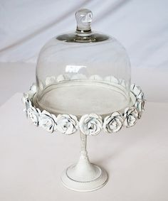 White Metallic Cake Stand & Glass Dome by Modelli Creations