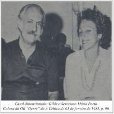 """Casal dimensionado: Gilda e Severiano Mário Porto. Coluna Gil """"Gente"""" do A Crítica de 05 de janeiro de 1985"""