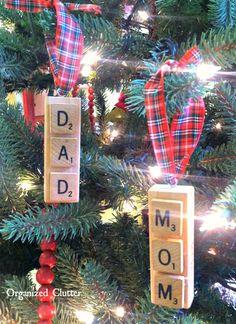 A Framed Scabble Tile Christmas Tree via OrganizedClutter.net