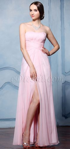 eDressit Strapless Pink Bridesmaid Dress Evening Dress