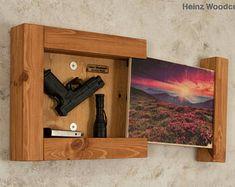 woodworking - Concealed Gun Storage Art Springtime in the Mountains, Gun Storage, Hidden Gun Storage, Hidden Gun Case Hidden Gun Storage, Secret Storage, Weapon Storage, Diy Wood Projects, Wood Crafts, Woodworking Projects, Art Projects, Hidden Gun Cabinets, Secret Hiding Places