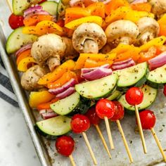 Grilled Marinated Vegetable Kabobs - Spend With Pennies Marinated Grilled Vegetables, Grilled Vegetable Skewers, Vegetarian Skewers, Marinated Chicken Kabobs, Vegetarian Recipes, Healthy Recipes, Asian Vegetables, Baked Vegetables, Easy Squash Casserole