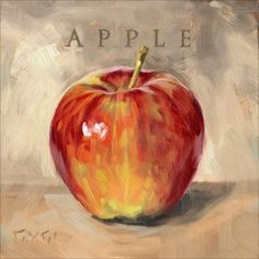 Spruce up your home with a beautiful Apple gallery wrapped giclee print. Perfect canvas wall art for the living room, kitchen or office. Apple Painting, Fruit Painting, Canvas Art Prints, Canvas Wall Art, Fine Art Prints, Pinturas Em Tom Pastel, Apple Picture, Apple Art, Art Prints For Sale
