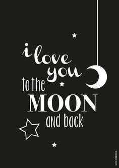 Poster zwart-wit I love you to the moon A4 decoratie kinderkamer & babykamer monochrome kinderposter
