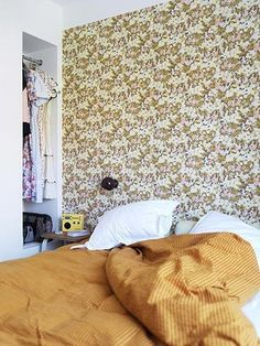 One wallpapered wall