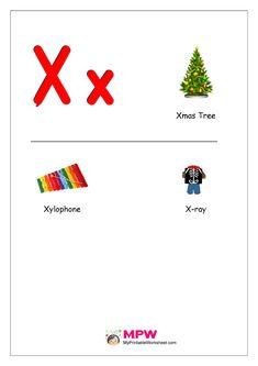 Things that start with X for Preschool Letter Worksheets For Preschool, Alphabet Worksheets, Alphabet Activities, Kindergarten Worksheets, Printable Worksheets, Preschool Crafts, Preschool Calendar, Printable Alphabet, Kindergarten Reading