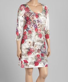 White & Red Floral Scoop Neck Dress - Plus