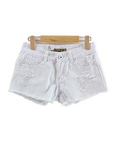White Distressed Denim Shorts