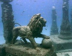 """Lost for 1,600 years, the royal quarters of Cleopatra were discovered off the shores of Alexandria. A team of marine archaeologists, led by Frenchman, Franck Goddio, began excavating the ancient city in 1998. Historians believe the site was submerged by earthquakes and tidal waves, yet, astonishingly, several artifacts remained largely intact. Amongst the discoveries were the foundations of the palace, shipwrecks, red granite columns, and statues"