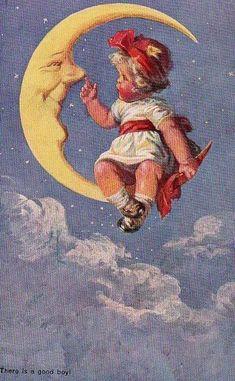 Ideas Vintage Art Illustration Smile For 2019 Sun Moon Stars, Sun And Stars, Art And Illustration, Vintage Pictures, Vintage Images, Vintage Cards, Vintage Postcards, Paper Moon, Good Night Moon