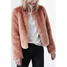 LUCLUC Skin Pink Elegant Fur Coat ($44) ❤ liked on Polyvore featuring outerwear, coats, pink coat, pink fur coat, brown fur coat, fur coat and brown coat