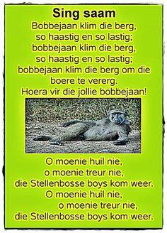 Preschool Songs, Preschool Learning, Teaching, Worksheets For Kids, Activities For Kids, Animals Name In English, Afrikaans Language, Kids Poems, Children Songs