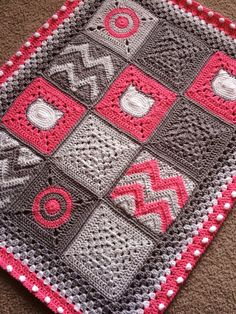 60 New Ideas Crochet Afghan Patterns Modern Patchwork Blanket Patchwork Blanket, Patchwork Patterns, Square Patterns, Afghan Crochet Patterns, Knitting Patterns, Block Patterns, Crochet Afghans, Crochet Granny, Baby Blanket Crochet
