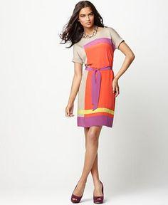 BCBGMAXAZRIA Dress, Louella Scoop Neck Short Sleeve Colorblocked Tie Shift