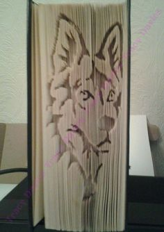 wolf dog hound cut and fold book folding pattern