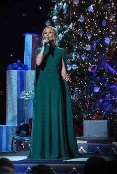 Christmas came early in Nashville this year! #Grammy award winning singer Jennifer Nettles is wearing a dress from the @ieenaduggal collection, Style 25537, while hosting & performing on stage at the CMA Country Music Association Christmas Special. All that's missing is the mistletoe!