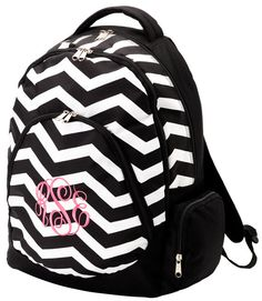 Personalized Black Chevron Backpack on Etsy, $32.95