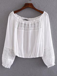 Blusa escote barco crochet -blanco-Spanish SheIn(Sheinside)