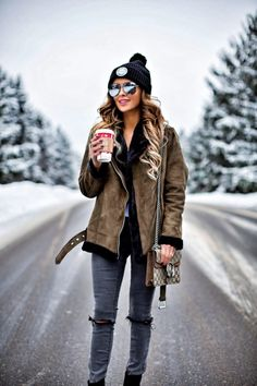 Snow Day Vibes - Topshop Olive Faux Shearling Jacket // Asos Gray Jeans // Similar Suede Booties // Herschel Black Beanie // Gucci 'Dionysus' Bag // Quay Black Mirrored Sunglasses December 18th, 2016 by maria
