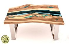 Live edge river coffee table 'Three stones' with image 5 Resin Table, Wood Table, Turquoise Color, Turquoise Stone, Live Edge Table, Wood Pieces, Glow, Stones, River