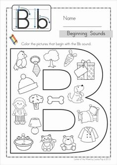 Phonics Letter of the Week Bb {FREE}. A HUGE unit (81 pages) with all that you need for a letter of the week curriculum. A page from the unit: Beginning sounds color it.