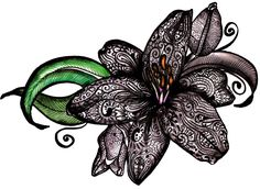 Tiger Lily Tattoo. This is so pretty. Maybe even more so with a red background.