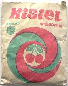KISIEL wiśniowy = całe opakowanie = 1980 Włocławek Poland, Nostalgia, Childhood, Kawaii, Graphic Design, Memories, Motorbikes, Dining Room, Mini