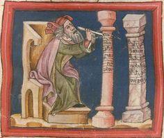 Christherre-Chronik, die zweite, dem Landgrafen Heinrich von Thüringen gewidmete, pseudo-rudolfische Rezension der Weltchronik, - unvollständig, nur bis Esau reichend 14./15. Jh. Cgm 4  Folio 16r