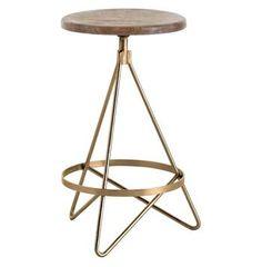 Windham Industrial Vintage Brass Wood Iron Swivel Counter Stool. #kathykuohome #stool #IndustrialLoft