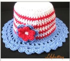 PATTERN in PDF -- crocheted cloche beanie hat with a large rose flower 4th July (Cloche 4) -- 6 - 9 months and 9 - 12 months von LilyKnitting auf Etsy https://www.etsy.com/de/listing/75542417/pattern-in-pdf-crocheted-cloche-beanie