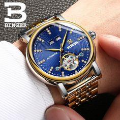 108.00$  Know more  -  Automatic Watch Men Switzerland Luxury Brand BINGER Clock Waterproof Mechanical Watches Skeleton Dial Blue New 2017