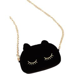 Black Cute Cat Shaped Embroidery Eyelash Crossbody Chain Bag ($18) ❤ liked on Polyvore featuring bags, handbags, shoulder bags, pochette, chain shoulder bag, black cat purse, black crossbody handbag, cat handbag and black cross body purse