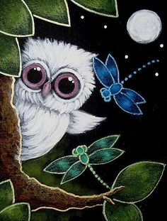 Cyra R. Cancel | Art: TINY ALBINO OWL - DRAGONFLIES VISIT by Artist Cyra R. Cancel #CyraCancelArt #Cyra #Art